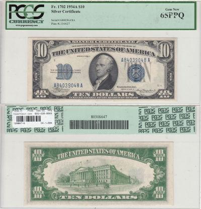 1934-A. $10. PCGS. Gem-65. PPQ. Silver Certificate