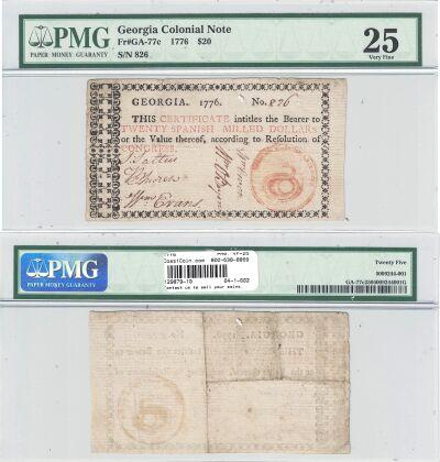1776. GA. Twenty Dollars. PMG. VF-25.