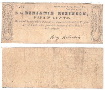 1861. 50c. VG. VA.