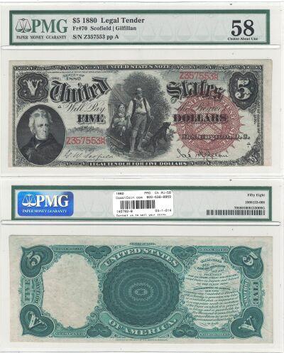 1880. $5. F-70. PMG. Ch AU-58. LTN.