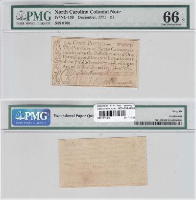December 1771. NC. One Pound. PMG. Gem-66. EPQ.