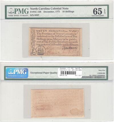 December 1771. NC. Ten Shillings. PMG. Gem-65. EPQ