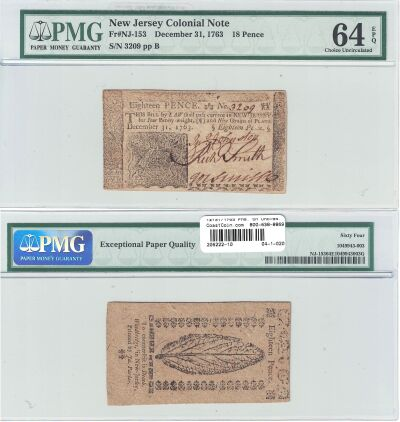 12/31/1763. NJ. Eighteen Pence. PMG. Ch Unc-64. EP
