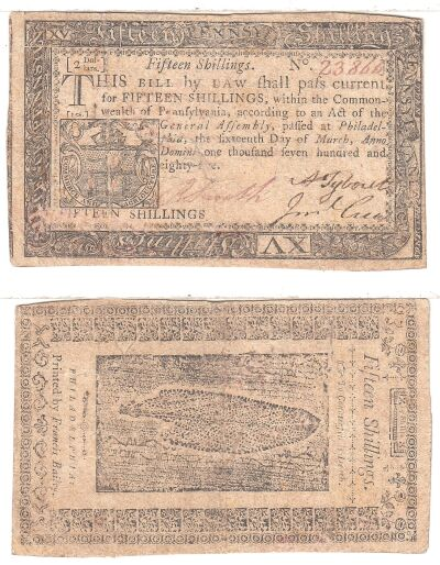 3/16/1785. PA. Fifteen Shillings. VF.