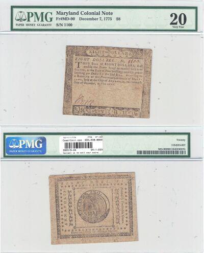 12/7/1775. MD. Eight Dollars. PMG. VF-20.