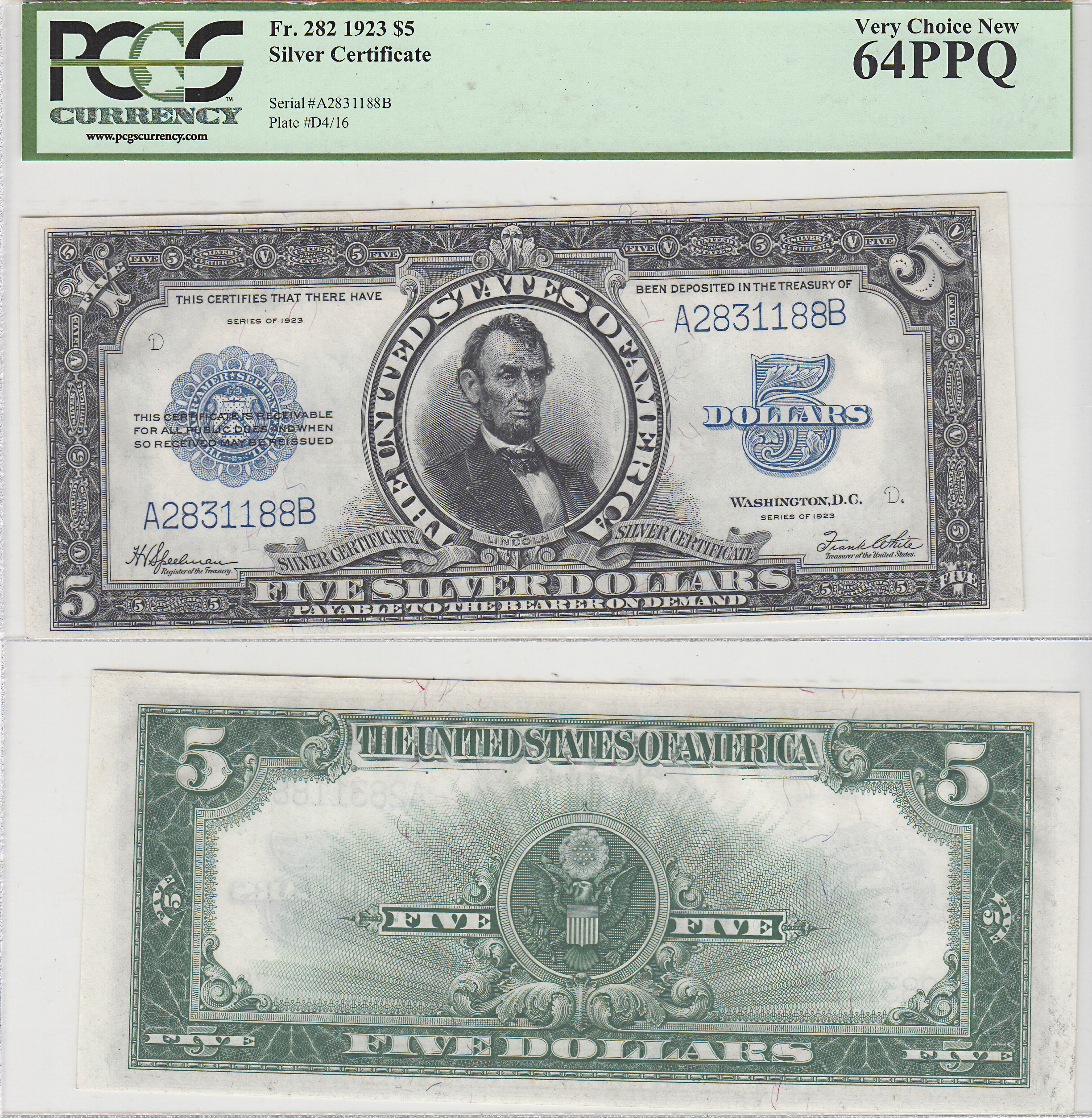 1923 5 Silver Certificate Note Porthole Pcgs Very Choice New 64 Ppq