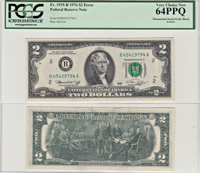1976. $2. PCGS. Very Ch-64. PPQ. Federal Reserve N