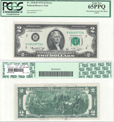 1976. $2. PCGS. Gem-65. PPQ. Federal Reserve Note.
