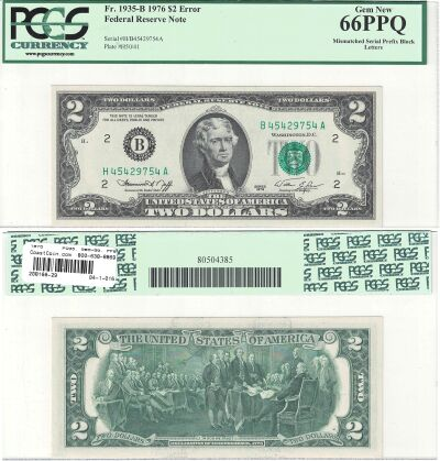 1976. $2. PCGS. Gem-66. PPQ. Federal Reserve Note.