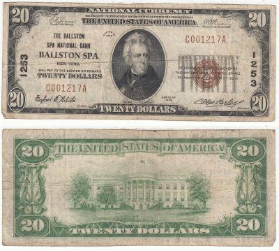 1929. $20. FINE. NY. Ballston Spa. Charter 1253.