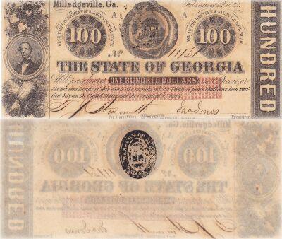 1863. $100. CCU. GA.