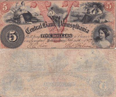 1859. $5. VF. PA.