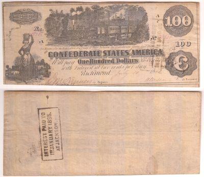 1862. $100. VF. T-39.