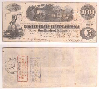 1862. $100. VF. T-40.