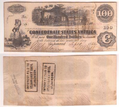 1862. $100. AU. T-40.