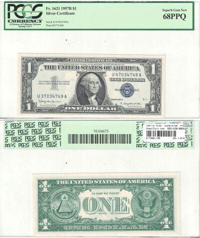 1957-B. $1. PCGS. Superb-68. PPQ. Silver Certifica