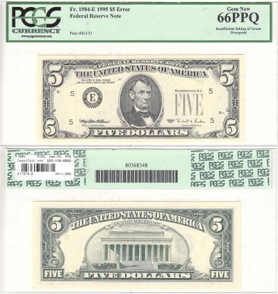 1995. $5. PCGS. Gem-66. PPQ. Federal Reserve Note.