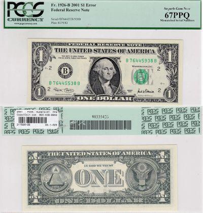 2001. $1. PCGS. Superb-67. PPQ. Federal Reserve No