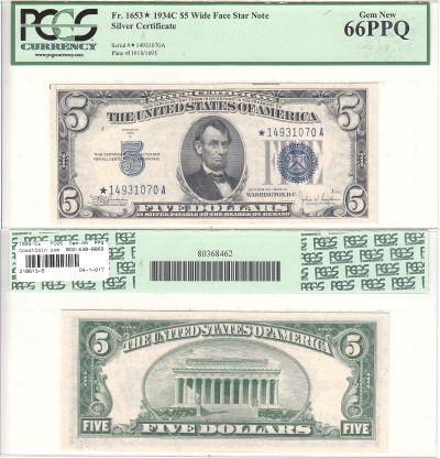 1934-C*. $5. F-1653*. PCGS. Gem-66. PPQ. Silver Ce