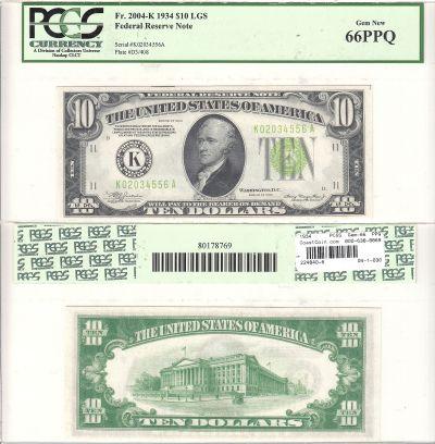 1934. $10. F-2004-K. PCGS. Gem-66. PPQ. Federal Re