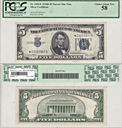 1934-D*. $5. F-1654*. PCGS. Ch AU-58. Silver Certi