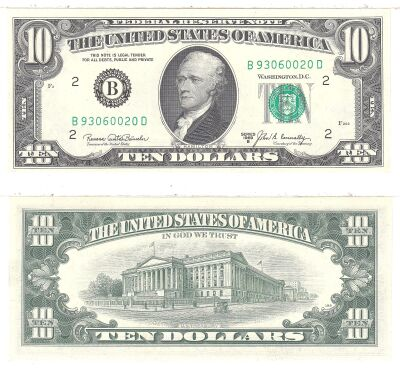 1969-B. $10. F-2020-B. CCU. Federal Reserve Note.