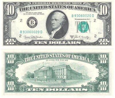 1969-B. $10. F-2020-B. CCU. Federal Reserve Note.