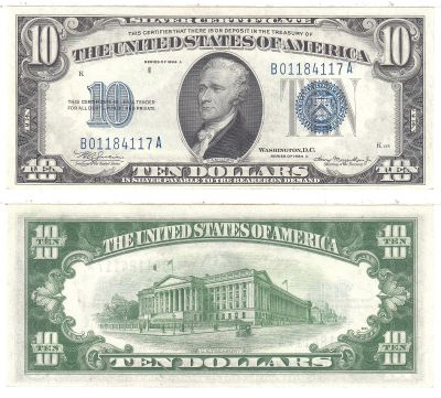 1934-A. $10. F-1702. CCU. Silver Certificate.