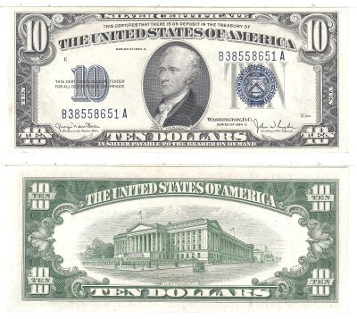 1934-D. $10. F-1705. CCU. Silver Certificate.