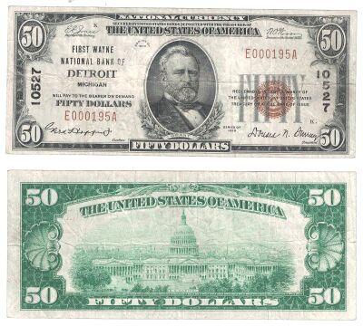 1929. $50. FINE. MI. Detroit. Charter 10527.