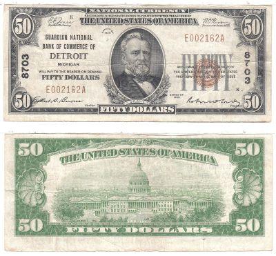 1929. $50. FINE. MI. Detroit. Charter 8703.