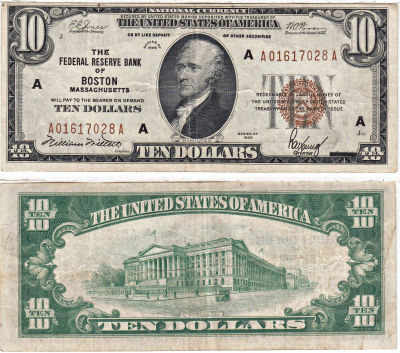 1929. $10. F-1860-A. VF. Federal Reserve Bank Note