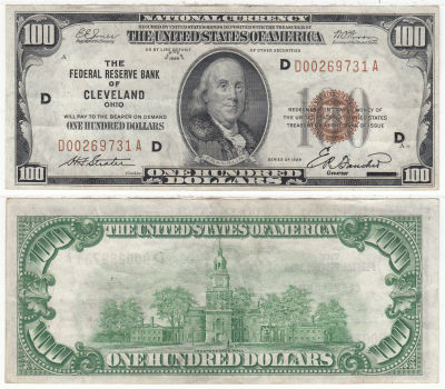 1929. $100. F-1890-D. XF. Federal Reserve Bank Not
