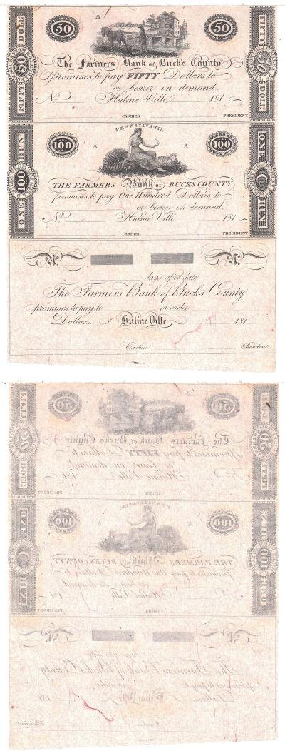 1810's. $50, $100,$Blank. CCU. PA.
