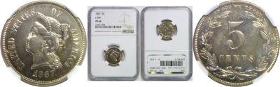 1867. Nickel. NGC. PF-66. J-566.