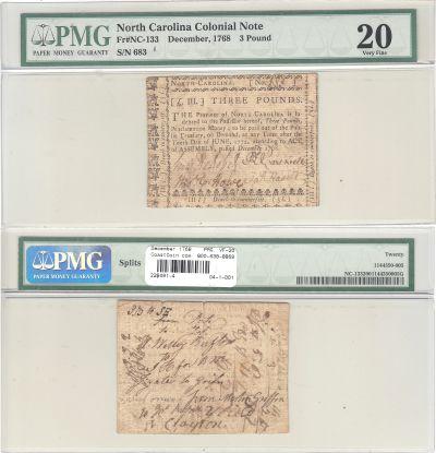 December 1768. NC. Three Pounds. PMG. VF-20.