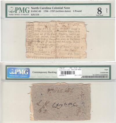 1756-57. NC. Five Pounds. PMG. VG-8. Net.
