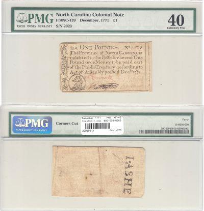 December 1771. NC. One Pound. PMG. XF-40.