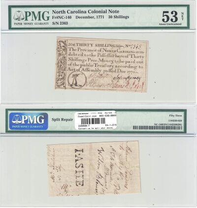 December 1771. NC. Thirty Shillings. PMG. AU-53. N