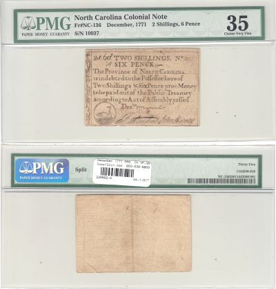 December 1771. NC. Two Shillings & Six Pence. PMG.