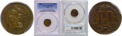1865. Three Cent Nickel. PCGS. PR-64. BN. J-411.