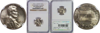 1966. NGC. MS-62. Cent. Wrong Planchet.