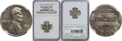 1969-D. NGC. AU-50. Cent. Wrong Planchet.