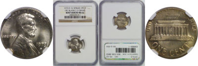 1973-D. NGC. MS-62. Cent. Wrong Planchet.
