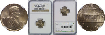 1975. NGC. MS-65. Cent. Wrong Planchet.
