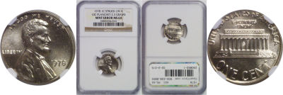 1978. NGC. MS-64. Cent. Wrong Planchet.