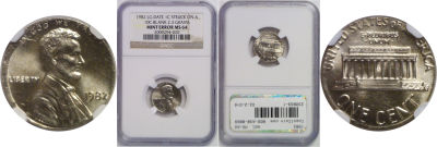 1982. NGC. MS-64. Cent. Wrong Planchet.