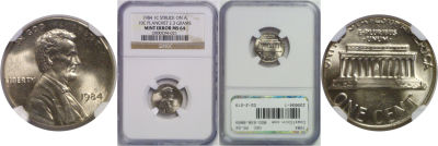 1984. NGC. MS-64. Cent. Wrong Planchet.