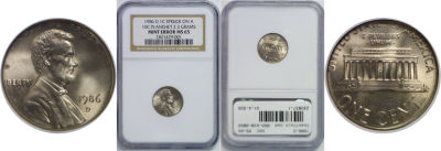 1986-D. NGC. MS-65. Cent. Wrong Planchet.