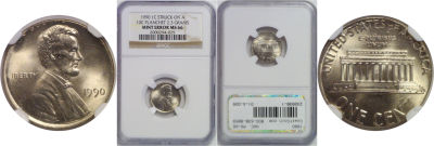 1990. NGC. MS-66. Cent. Wrong Planchet.